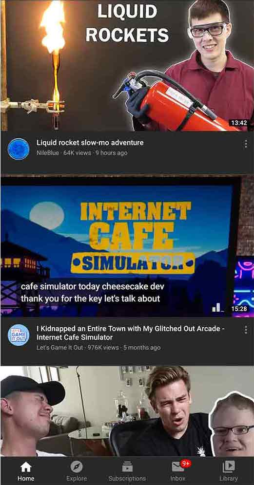 Youtube mobile homepage