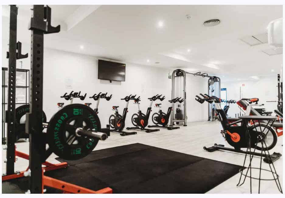 A gym with spin bikes