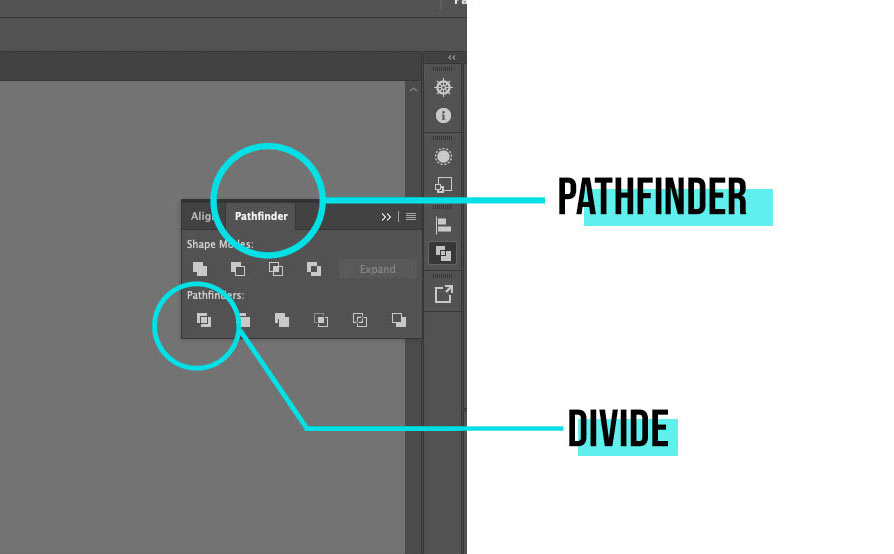 pathfinder and divide function in Illustrator