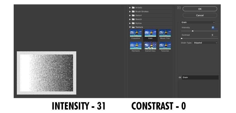 Grain effect dialogue box in Adobe Illustrator