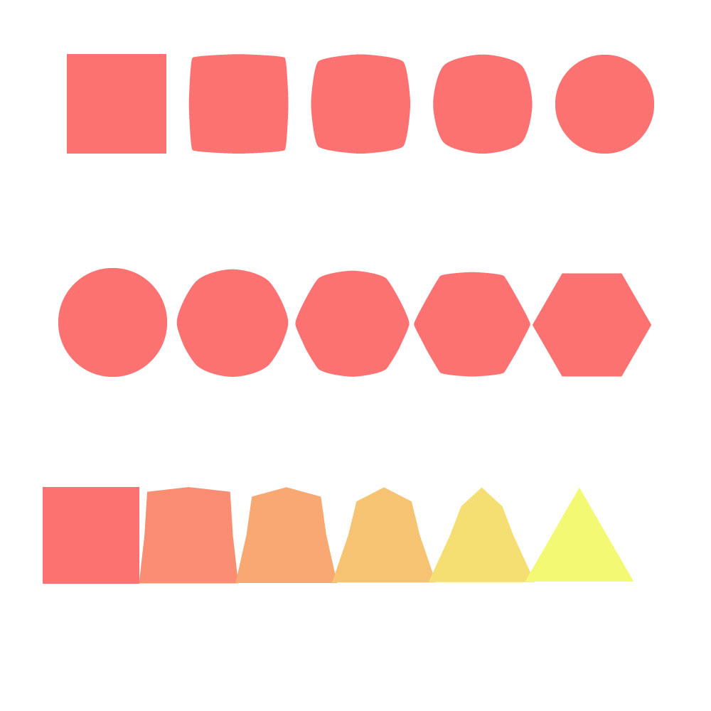 Blend tool used for different shapes