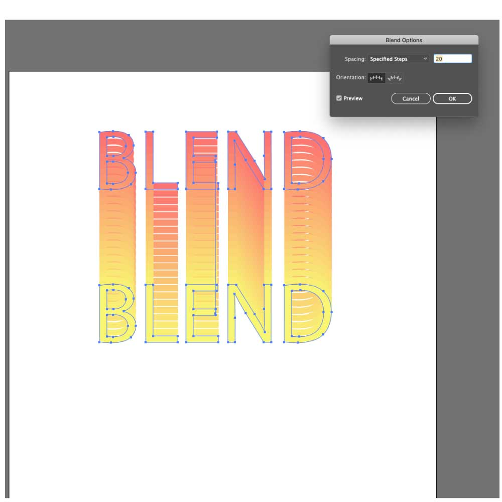 Applying the blend tool on two text objects