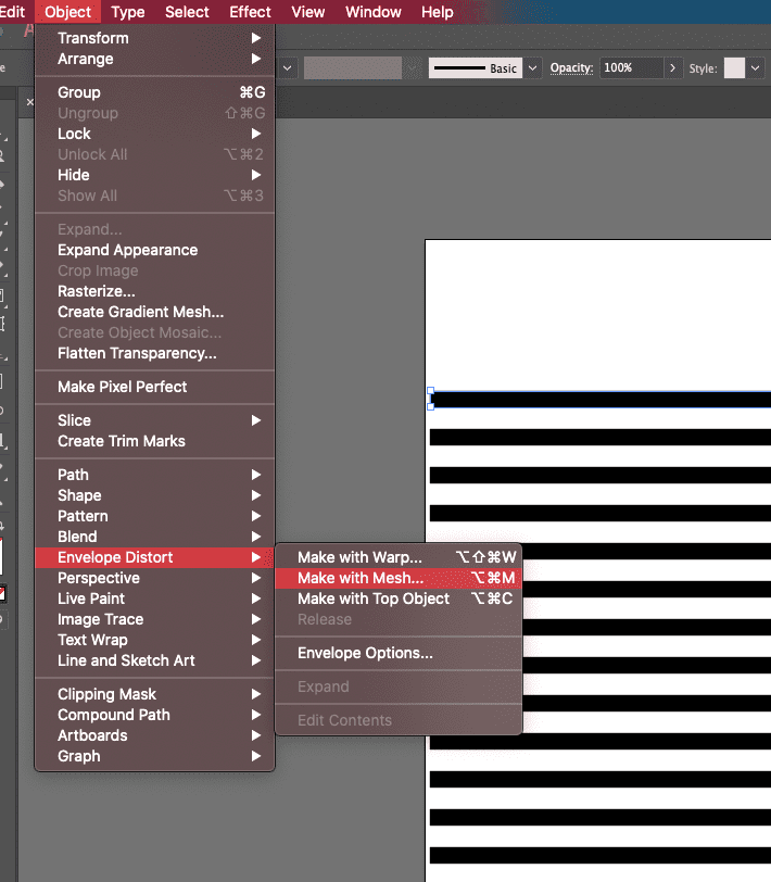 Using the Envelope mesh feature in Illustrator
