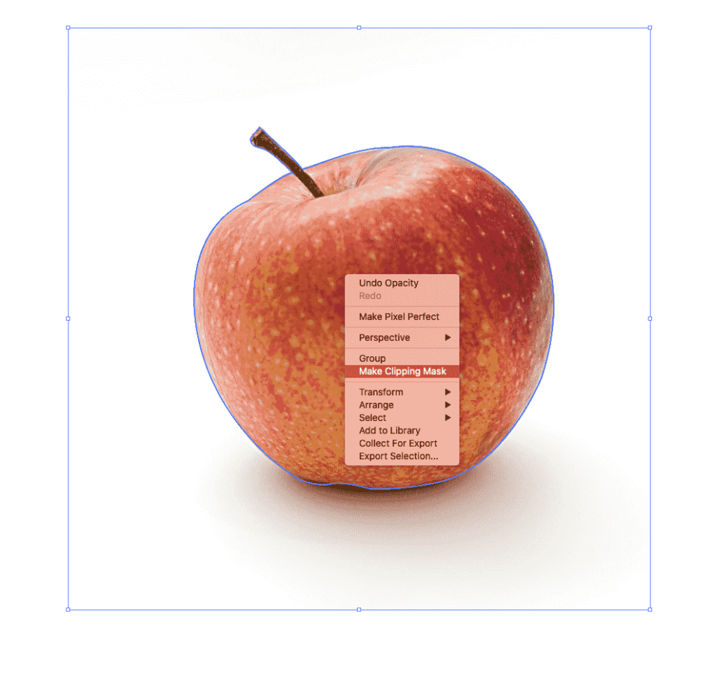 using the clipping mask on an image of an apple