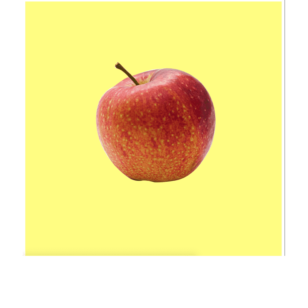 an apple in yellow background