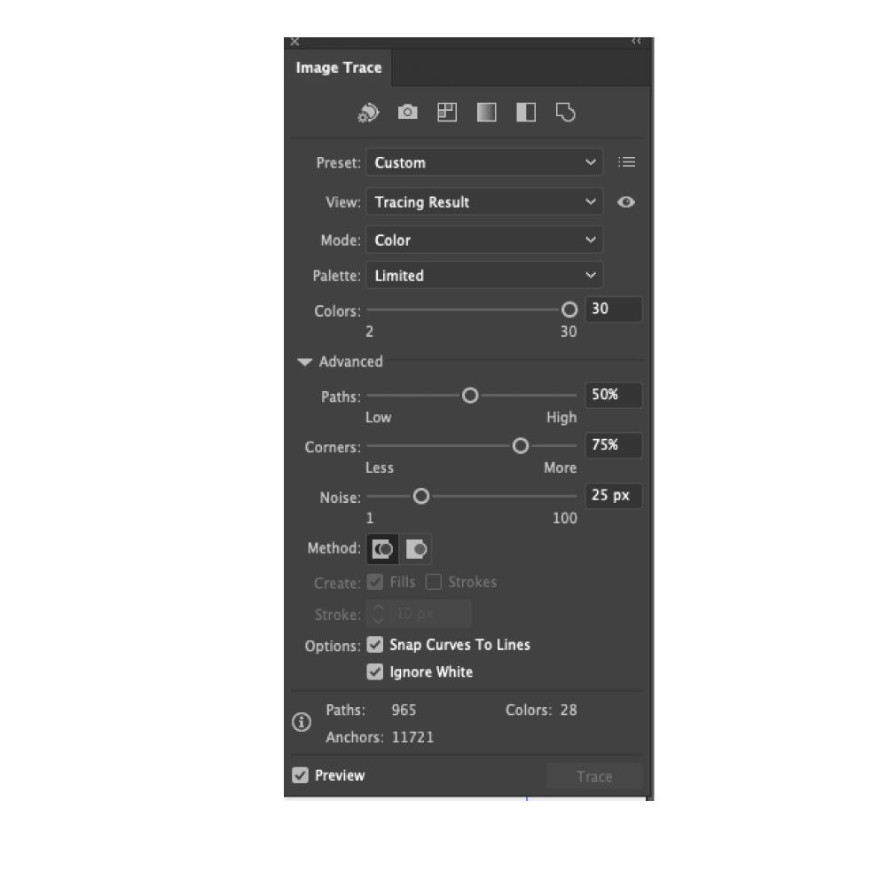 Image trace dialogue box