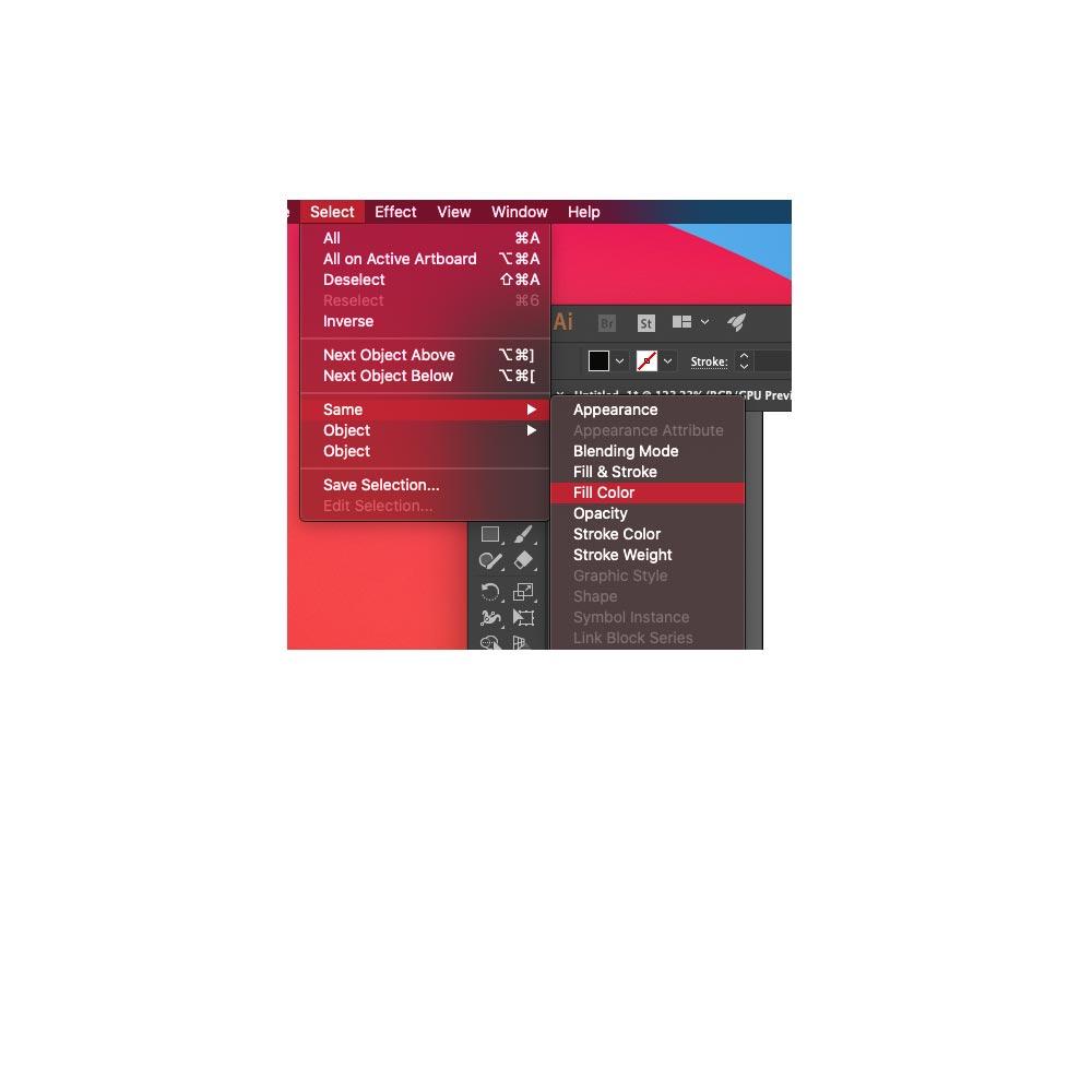 Select menu in Illustrator
