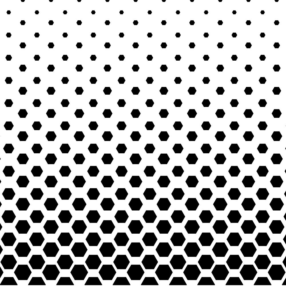 Halftone image with hexagonal dots