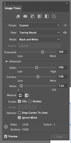 Image trace setting in Illustrator