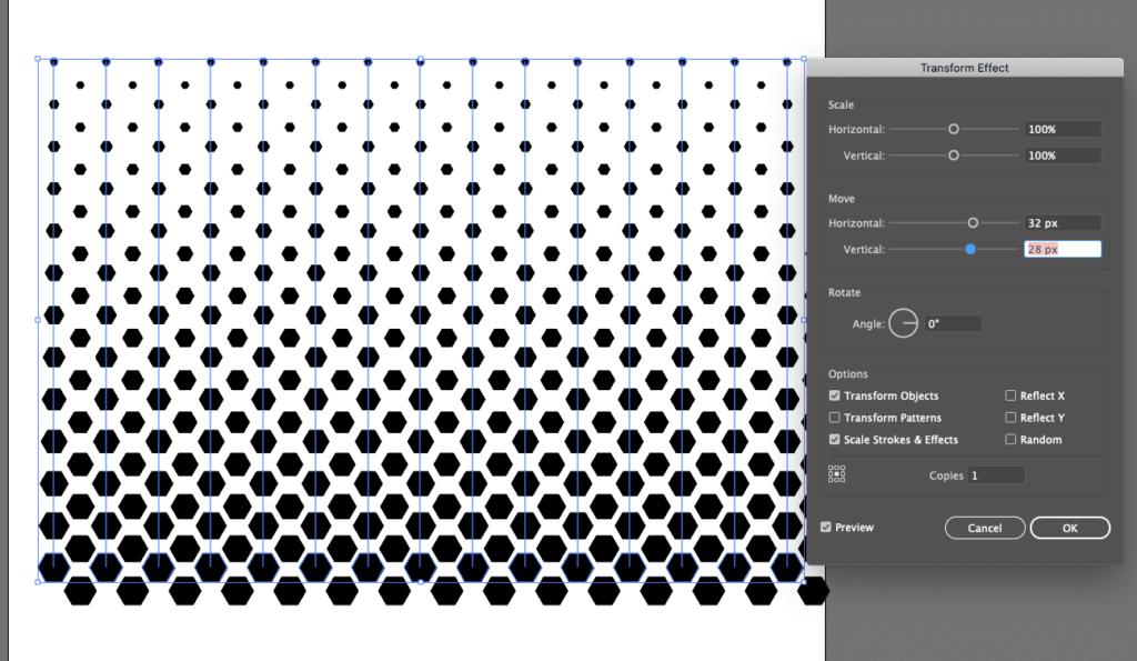 transform tool in Illustrator for halftone illustrator tutorial