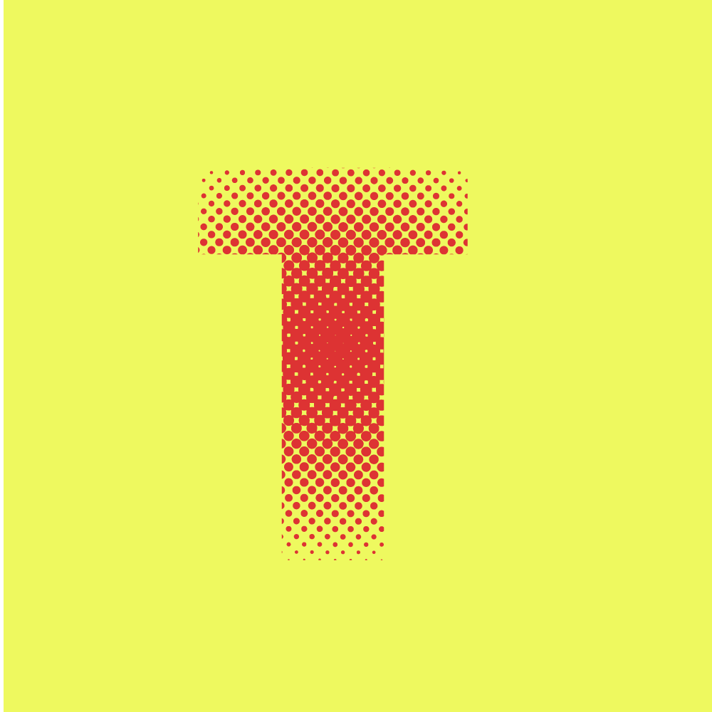halftone on colored T letter for halftone ilustrator tutorial