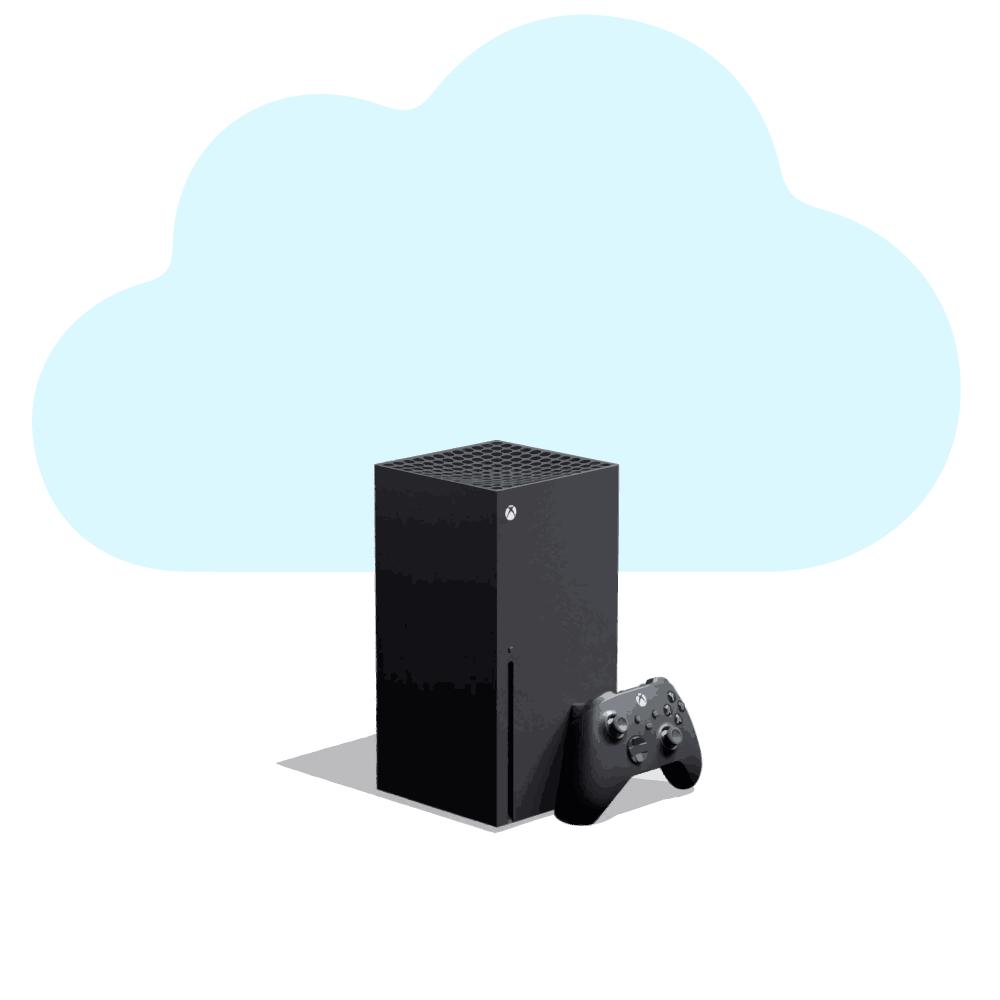 an xbox series X with a cloud logo